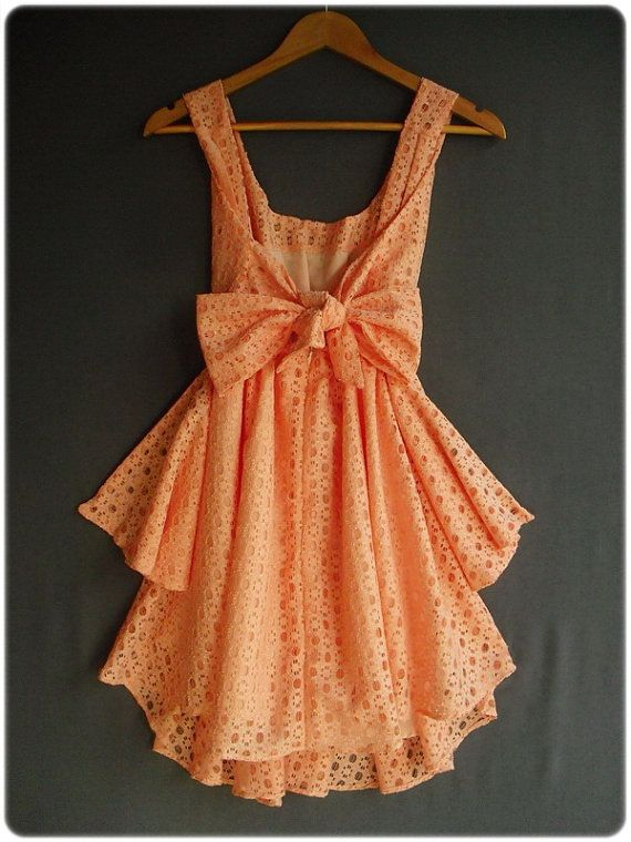 Tangerine eyelet dress: Summer Dresses, Party Dresses, Bow Back Dresses, Fashion Clothing, Cute Dresses, Parties Dresses, Bows Dresses, Peaches Dresses, Dreams Closets