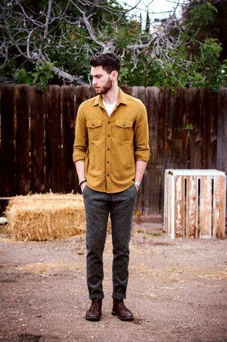 Men's Mustard Longsleeve Shirt, White Crew-neck T-shirt, Charcoal Wool Dress Pants, and Burgundy Leather Desert Boots
