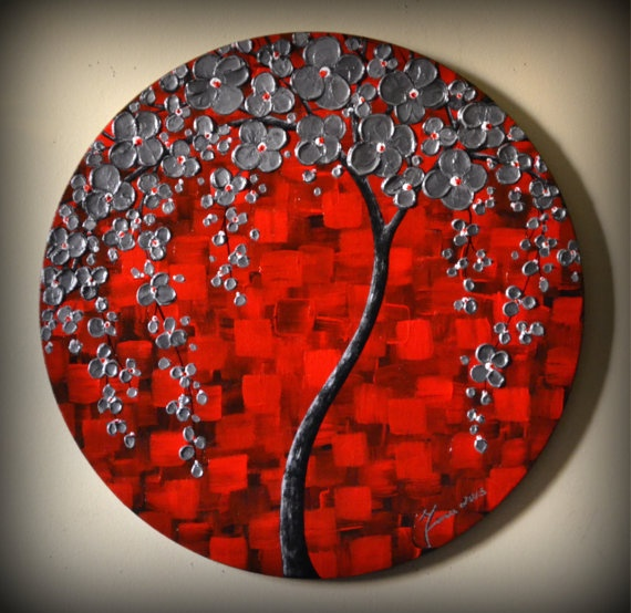 ORIGINAL Fine Art Modern Silver Red Black Tree
