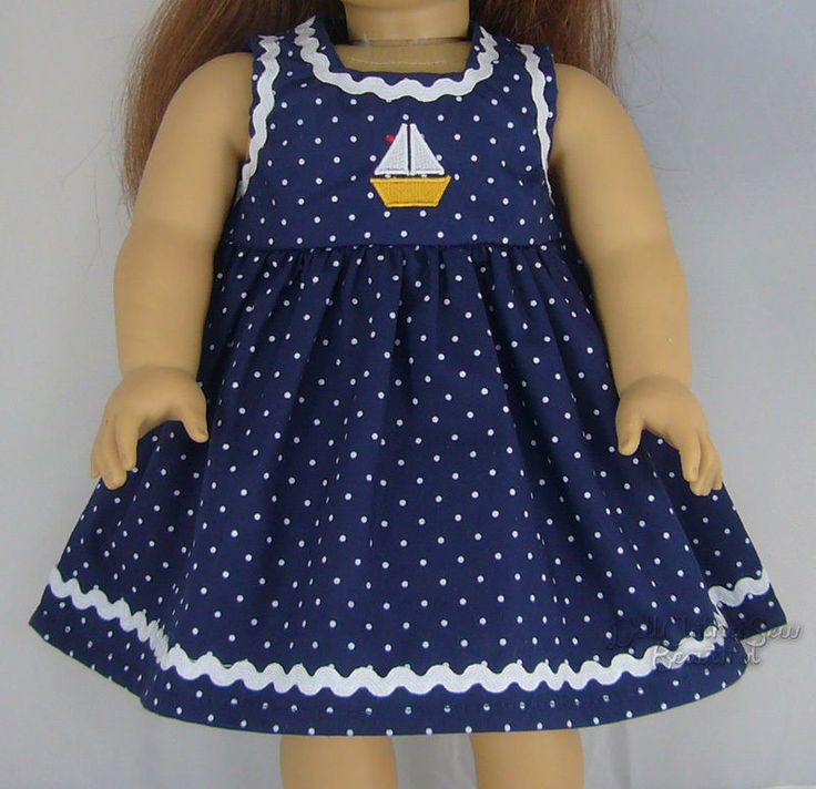 """NAVY Dot SAILBOAT DRESS w/ RIC RAC made for 18"""" American Girl Doll Clothes"""