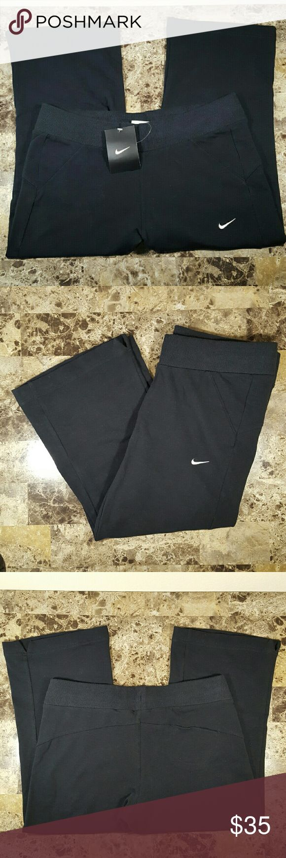 NIKE Women's Black Training Capris! NWT! New with tags, never worn! Women's NIKE black training capri pant in the style 415088. White stitched swoosh on front left, elastic waistband with white drawcord, and a single exterior coin pocket on back right. Loose breathable fit for extra comfort. Yog pant style seaming to highlight the figure. 95% cotton and 5% spandex. Size small. No trades! Nike Pants Capris