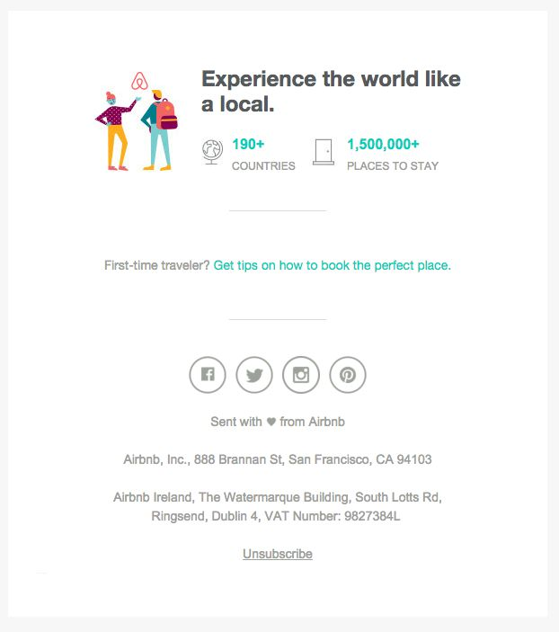 Nice use of white space in this AirBnb email footer. See more email footer best practices at http://emaildesign.beefree.io/2016/01/best-practices-email-footer-design/
