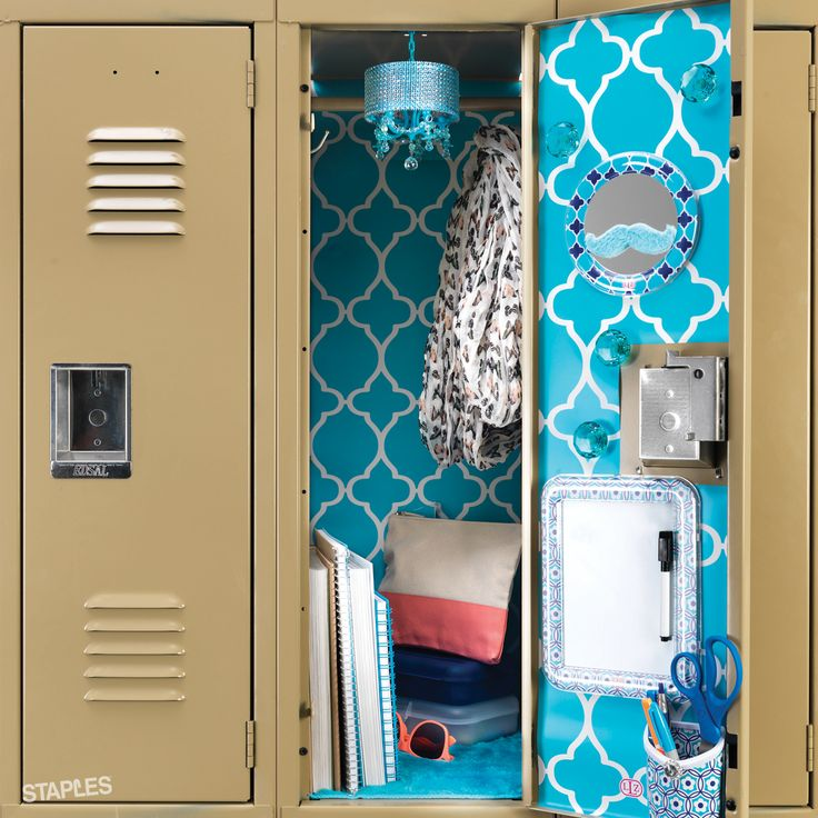 Staples locker tip Class it up (get it?) with wallpaper