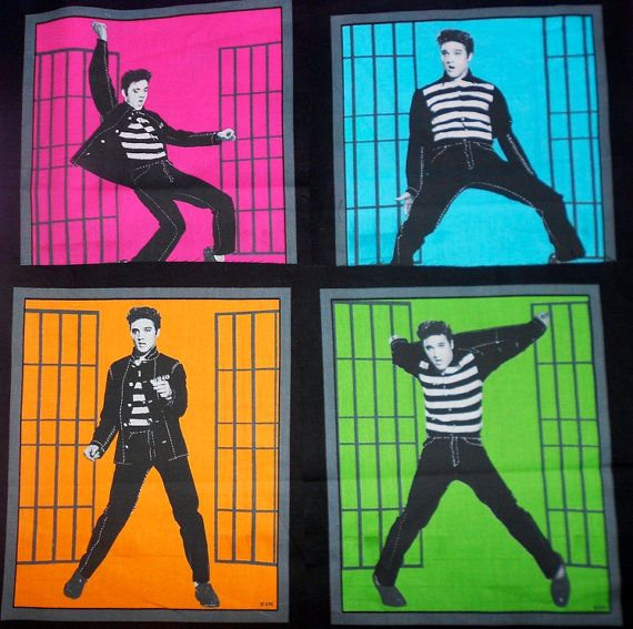 ELVIS PRESLEY Fabric - 1950's Jailhouse Rock Music Movie Quilt Quilting Blocks
