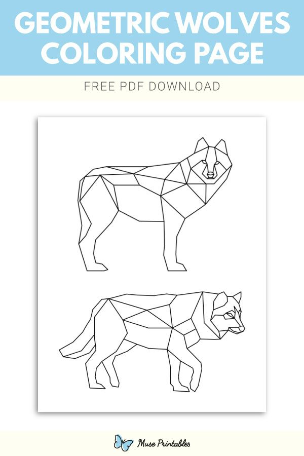 Free Printable Geometric Wolves Coloring Page Download It At
