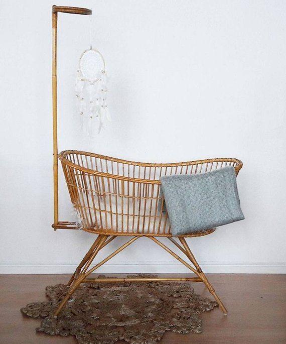 Lovely Vintage Rattan Crib Cradle Bassinet