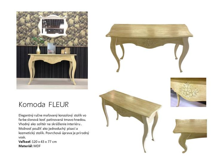 Elegantný ručne maľovaný konzolový stolík vo farbe slonová kosť patinovaná tmavo hnedou. Vhodný ako solitér na skrášlenie interiéru . Možnosť použiť ako jednoduchý písací a kozmetický stolík. Povrchová úprava je prírodný vosk.  Veľkosť: 120 x 43 x 77 cm Materiál: MDF