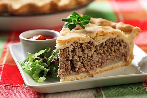 pie, using 2 lbs ground pork, 1 lb ground beef, 1 potato, spices, and ...