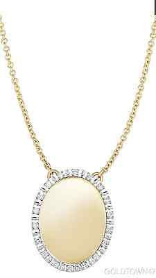 14k Twotone Gold Chain+Center Element Oval Pendant with.Diamond -Free Engraving