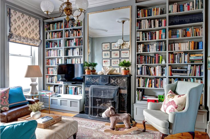 cheerful, cozy library