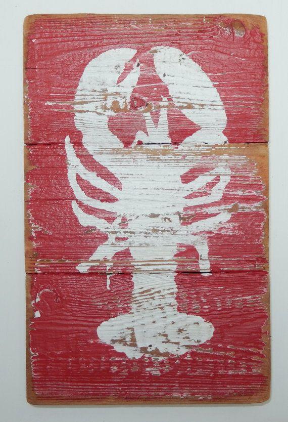 Lobster, coastal art on reclaimed wood.
