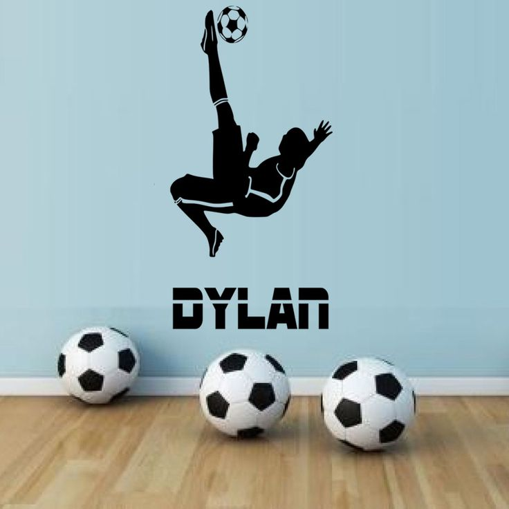 Personalised Name Football Player Wall Sticker Kids Bedroom Playground Game Room Sport Vinyl Removeable Wallpaper Mural Decor