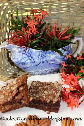 Eclectic Red Barn: Caramel Pecan Brownies with Blue Gravy Boat