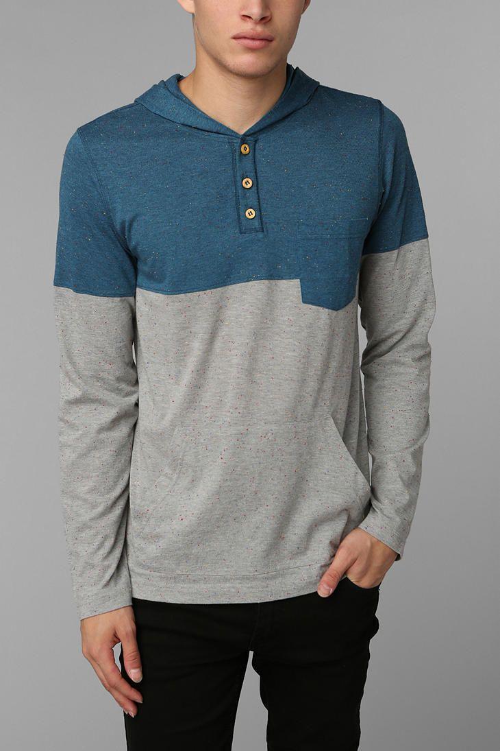 BDG Slub Colorblock Henley Pullover Hoodie Sweatshirt
