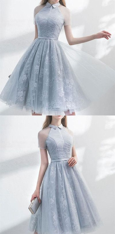 Unique gray tulle dress for the return, A-Line, sheer, short sleeves, knee-length