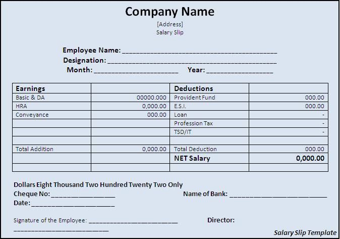Wage Slip Format. Salary Calculation In Excel Salary Slip Format
