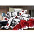 Sweet Marilyn Monroe and Red Rose Print 4-Piece Duvet Cover Sets on sale, Buy Retail Price Cheap 3D Bedding Sets at Beddinginn.com