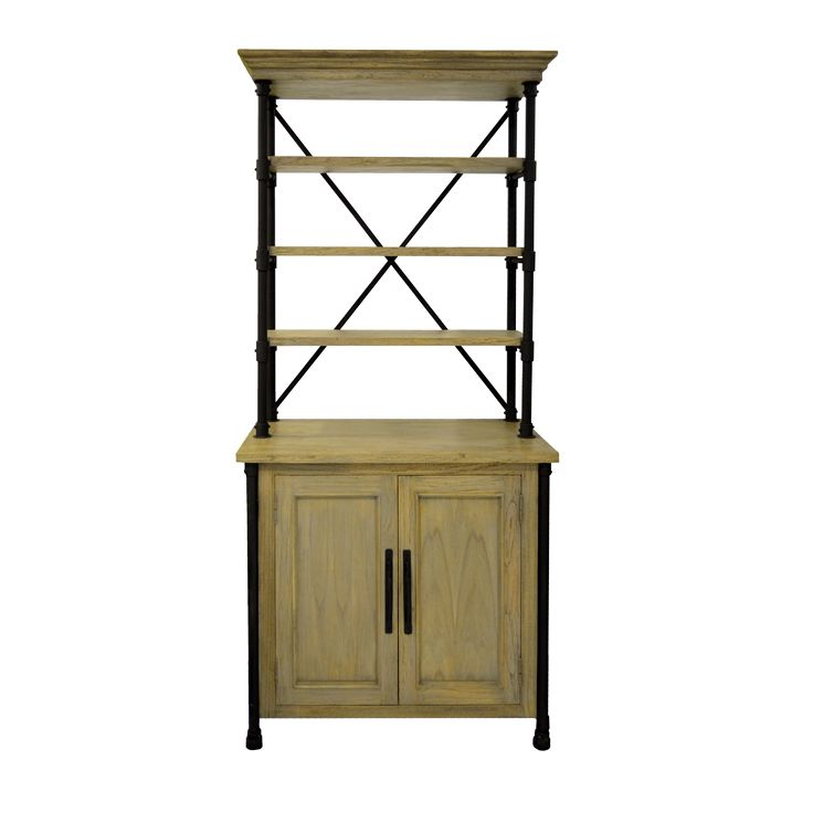 Maison Cabinet. Create a fine focal point in your home interior space with Maison Cabinet. This unique cabinet completed with industrial iron frame and mindi wood shelves.