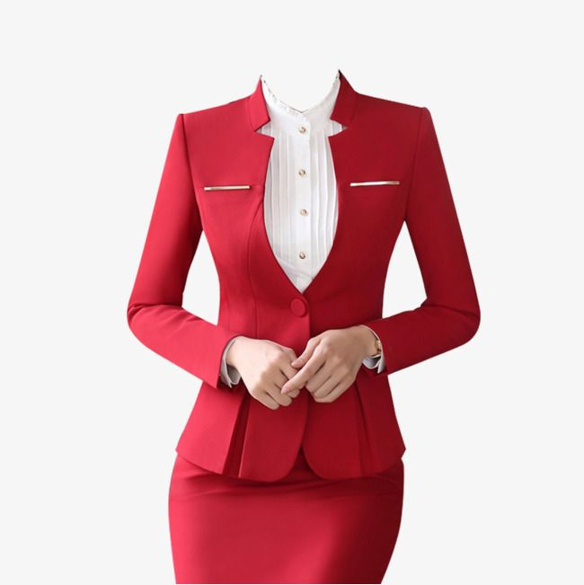Red Low Collar Professional Women Suit Skirt Suit | Suits ...