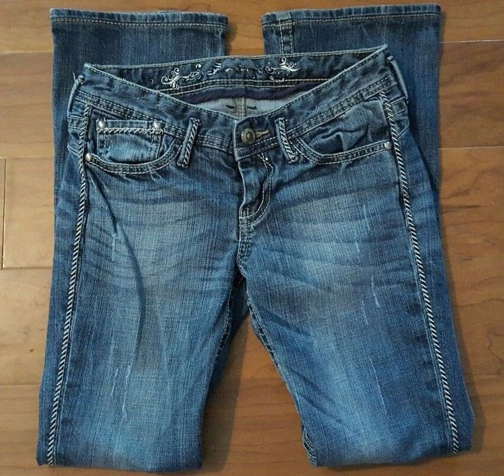 """Express Jeans Junior Size 0R Flap Back Pockets Distressed 29 X 29 Rise 7"""" #Express #BootCut"""
