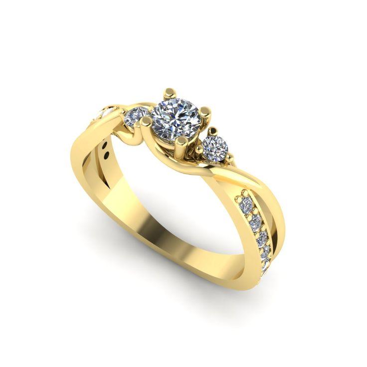 Inel de logodna F128GDI din aur galben cu diamante