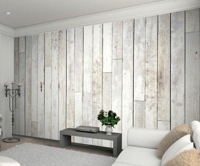 Salon Mur Tapissé De Papier Peint Imitation Bois