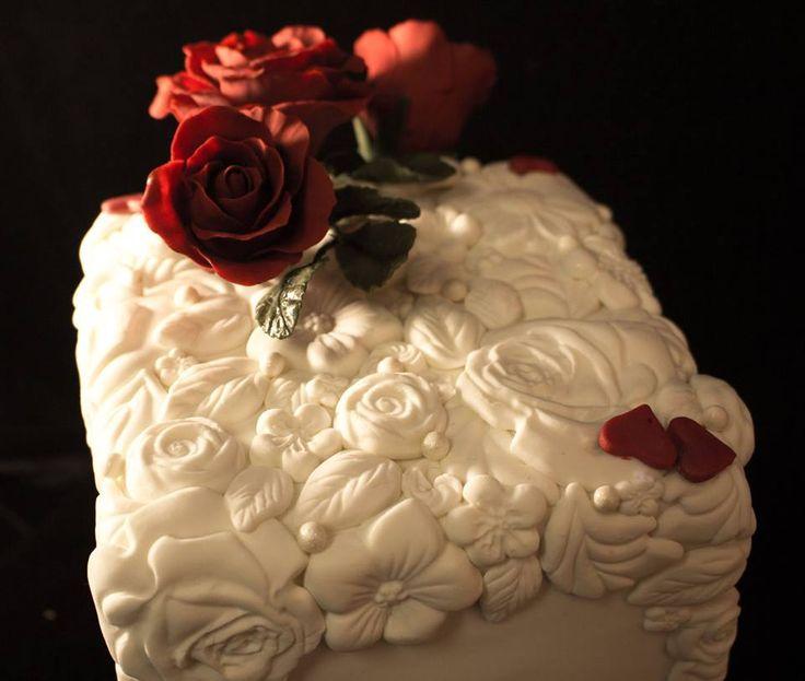 Close up of Bas Relief cake