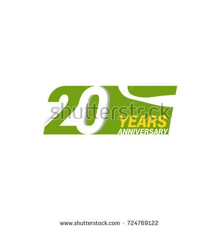 20 Years  Anniversary  Logo Celebration with negative space design. Isolated on White Background