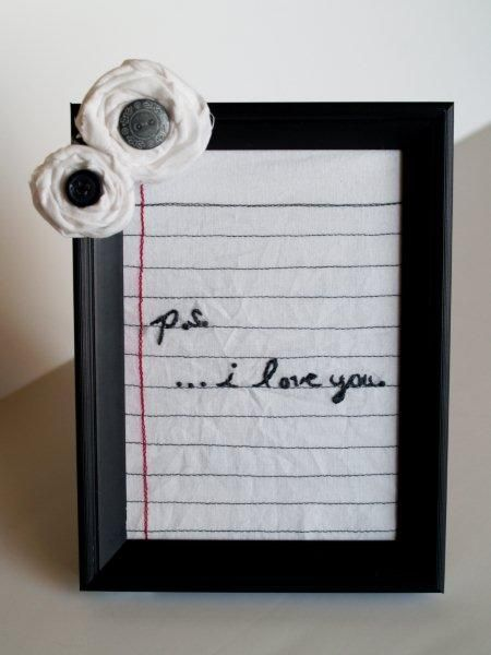 Put a piece of line paper in a frame and with dry erase markers leave bed side love notes-- more like take out the trash.. lol