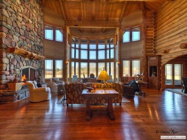 Biggest Luxury Log Mansions | Luxury Log Cabin Homes Interior Luxury Log Homes Great Rooms, large ...