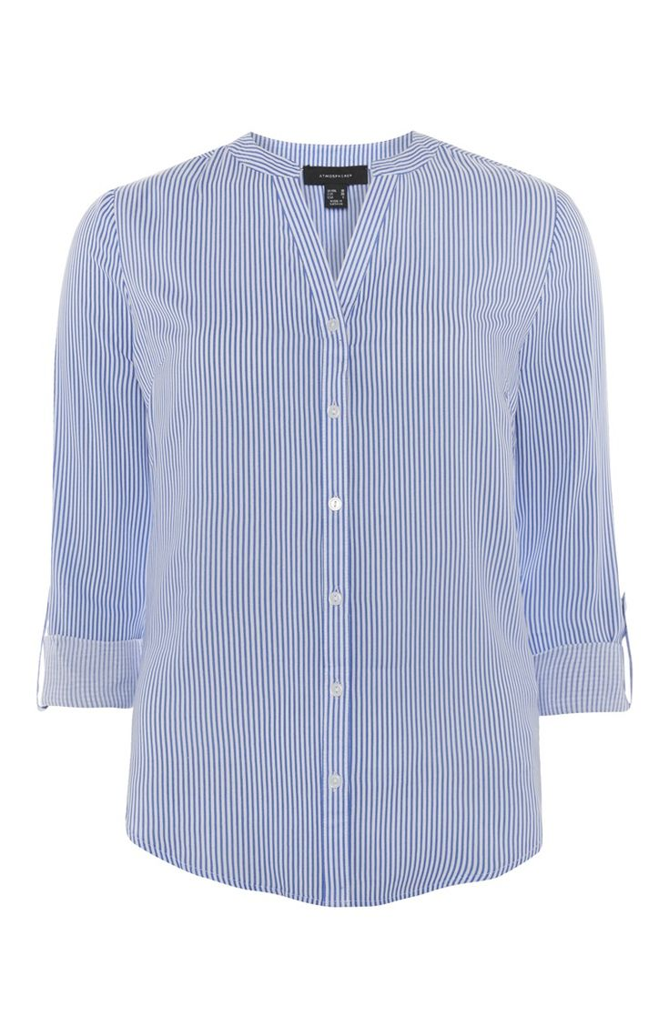 Primark - Blue Pinstripe Collarless Blouse