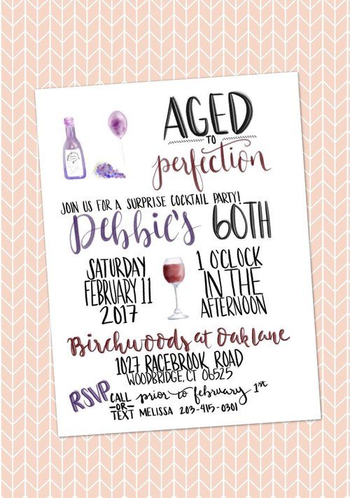Illustrated Invitation - These custom Aged to Perfection wine themed invitations came out so cute! Custom illustrated invitations are available from Gold Copy Co. Perfect to add a classy and special touch to any birthday party or event.