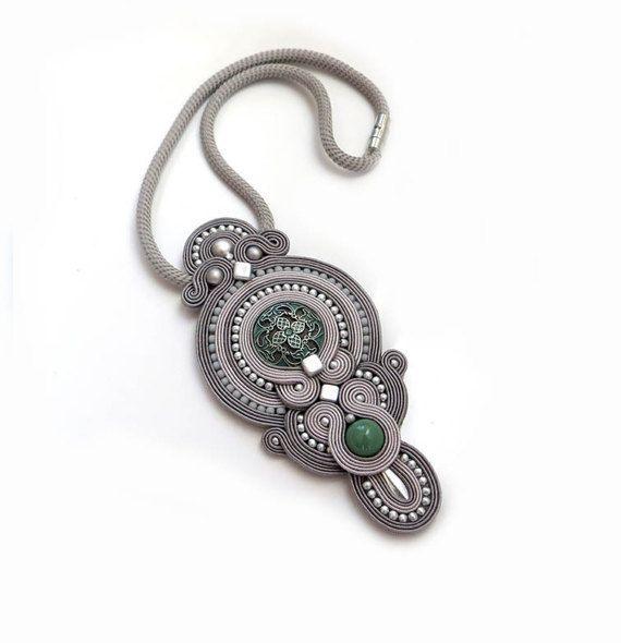 Antique turquoise grey necklace soutache OOAK by sutaszula on Etsy
