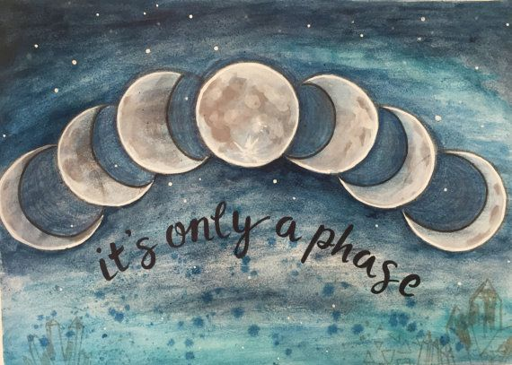 It's Only A Phase 11x17 Poster Art Moon Print by RachaelRiceArt