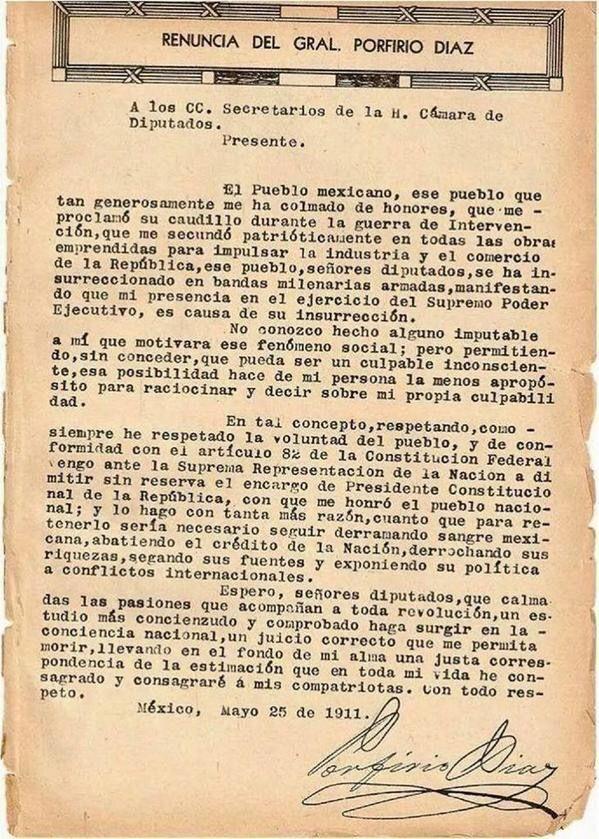 Carta de renuncia de Porfirio Díaz!