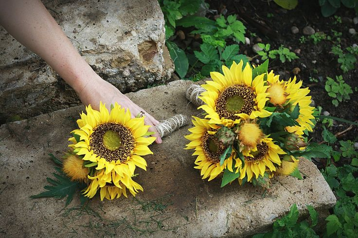 2 piece set Sunflowers Wedding Bouquets, Silk Sunflower Bridal Bouquet,Yellow Flowers Bouquet, Rustic Wedding Bouquet, Bridesmaid Bouquet by AlookFlowers on Etsy