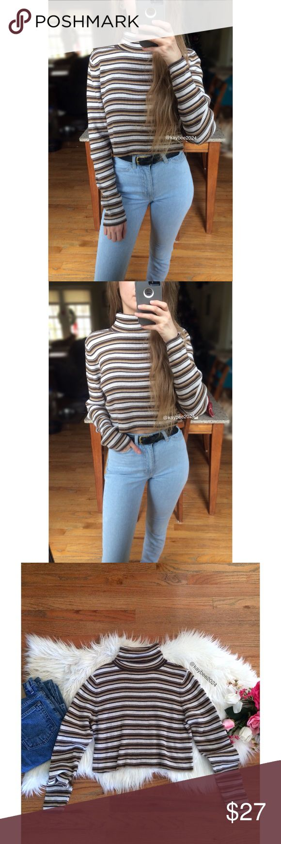 🍂 90's Essential Striped Turtleneck Crop Sweater Awesome vintage 90's / Y2K striped turtleneck crop sweater by Kim Rogers! Features a cozy ribbed 100% cotton knit in the best striped shades of chocolate brown / light cream taupe / caramel tan &black. Raw cut bottom hem. Pairs perfectly with high waisted denim! In great vintage condition minus a little hard to see fading! Fits like a small/medium! Modeled on a size xs/small, 5'2 height :)   Measurements:  Length (top of shoulder to bottom…