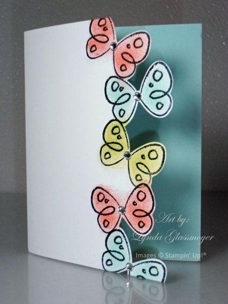 Flower Fest. Stamp butterflies in StazOn, sponge color, papersnips to cut edge. Mount card stock on inside