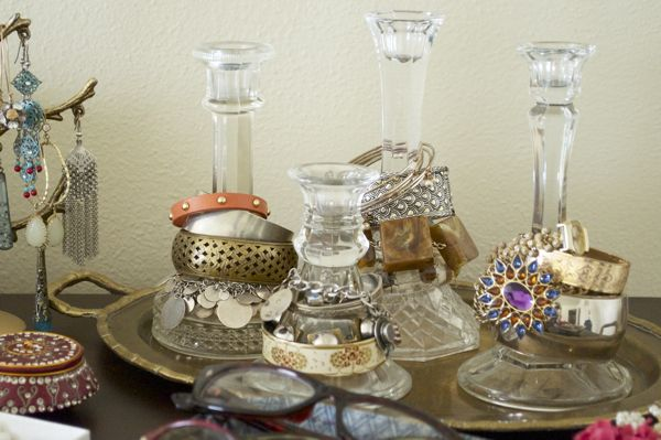 Candlesticks as bracelet storage, YES.