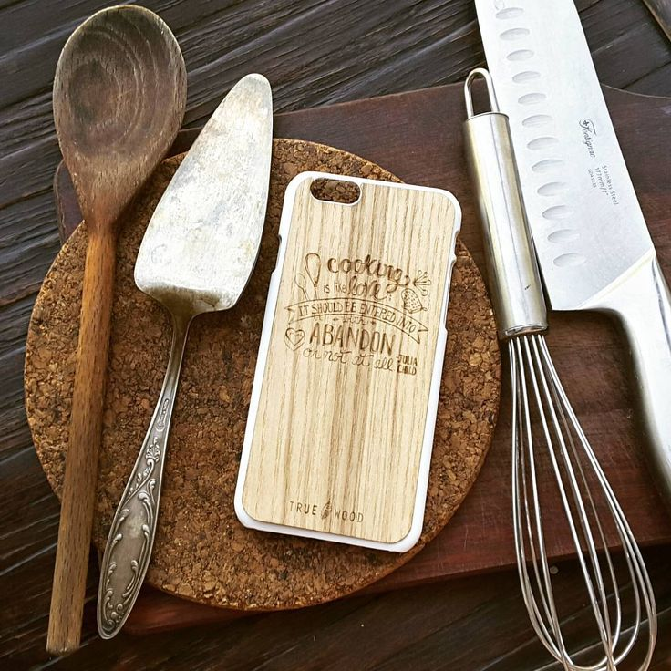 """iPhone 6/6S massive wooden panel """"Cooking is like Love"""" American walnut #iphonecase #woodencases #woodenaccessories #cooking #lovecooking #чехолдляiphone  Чехол для iPhone 6S"""
