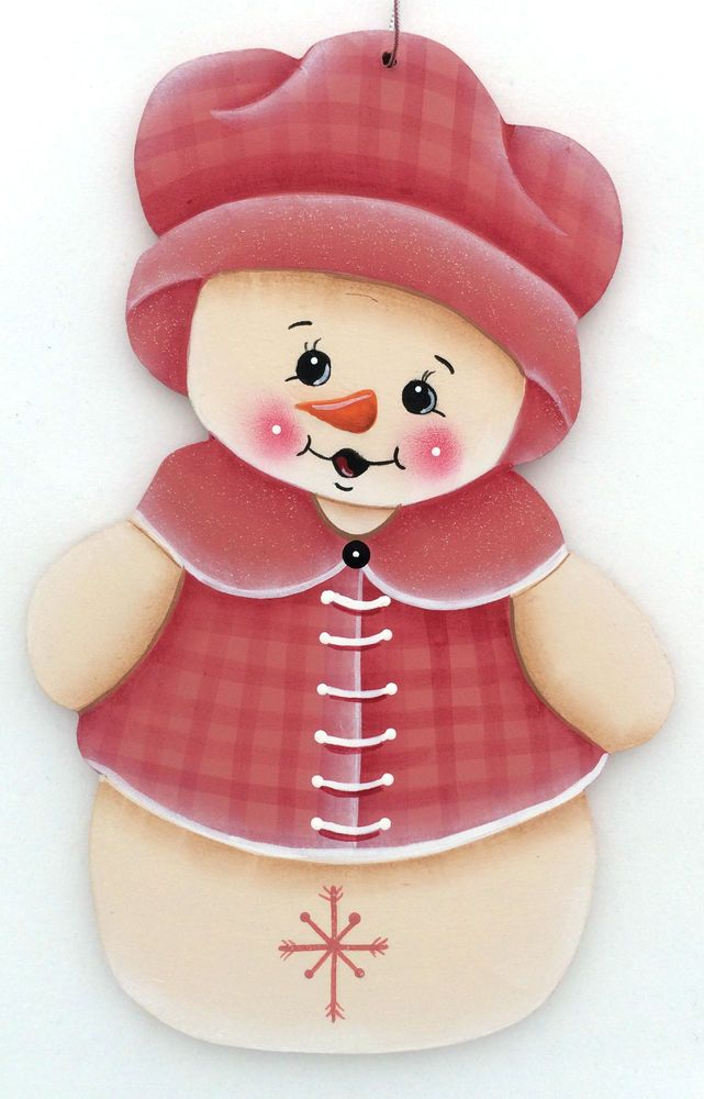 SNOWMAN ORNAMENT  pink hat