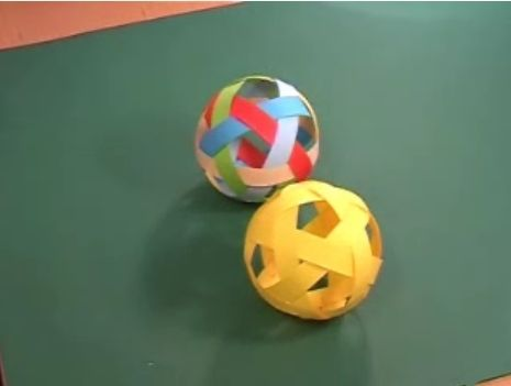 Learn how to weave a Greek paper ball. The holes look like the pentagons on a football.
