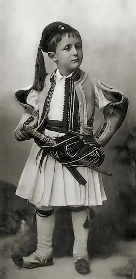 A boy in Albanian costume. Circa 1900.