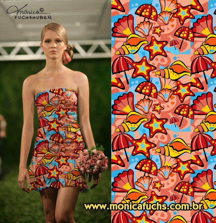 Vestido com estampa Conchas by Mônica Fuchshuber