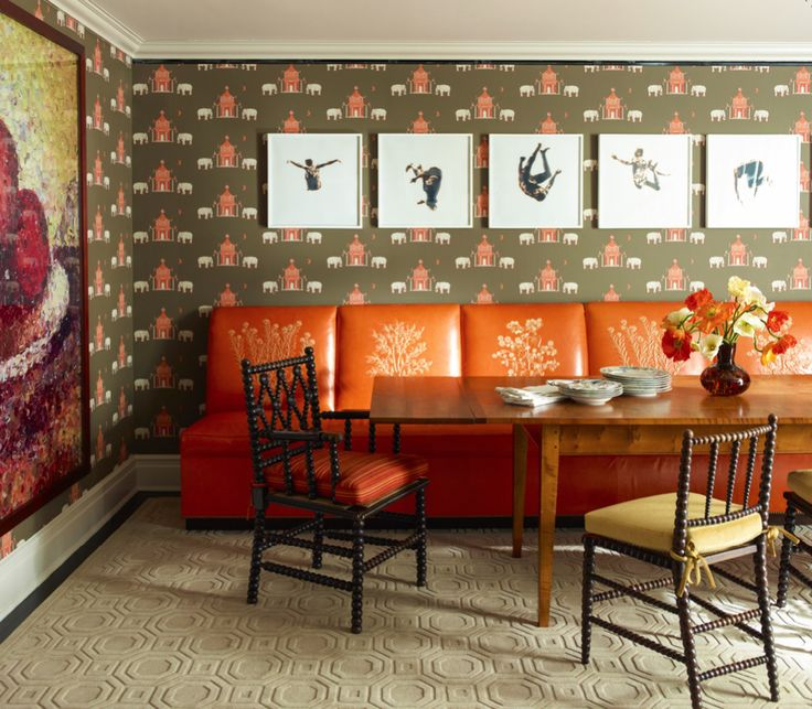 Decorating With Carpets 07 A Hand Tufted David Hicks Carpet Adds Geometric Texture To Dining Room By Katie Ridder