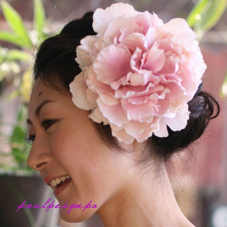 adornos para el pelo esponjoso de peonía [rosa] Entrega de títulos, ceremonia de graduación, ceremonia de entrada, de la boda ceremonia de entrada, popular!  accesorios para el cabello ♪ kimono compatibles con el buen ramillete que se pueden utilizar en kimono Yohatsu