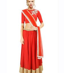Buy Red Hand Embroidered Silk Designer Lehenga with Blouse lehenga-choli online