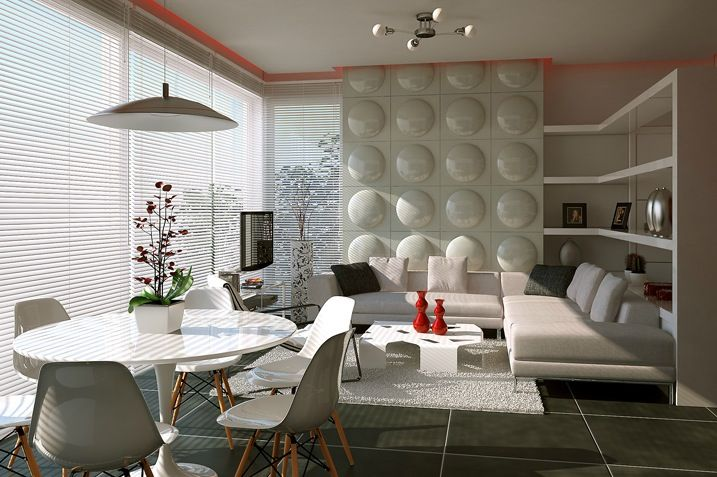 Interior Combination Of Living Room And Dining For Your Home Feature Wall Treatment With White Sofa Table Set