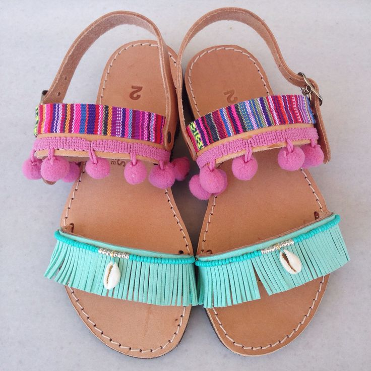 Girly turquoise&pink sandals handmade by @bohemian__dreams