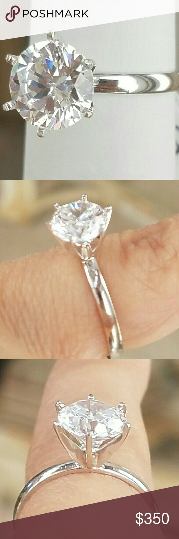2 karat Solitaire 14k white gold Engagement ring This is a 2ct simulated man made diamond Solitaire Engagement Ring in 14K solid real white gold available in sizes 5 6 7 8 9 Jewelry Rings